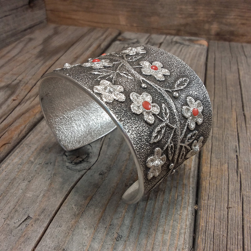 Tufa Cast Silver and Coral Flower Bracelet By Rebecca Begay