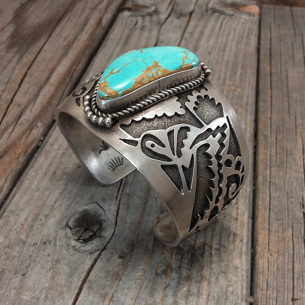 Turquoise Bracelet With Hummingbird Silverwork by Aliaha Barney