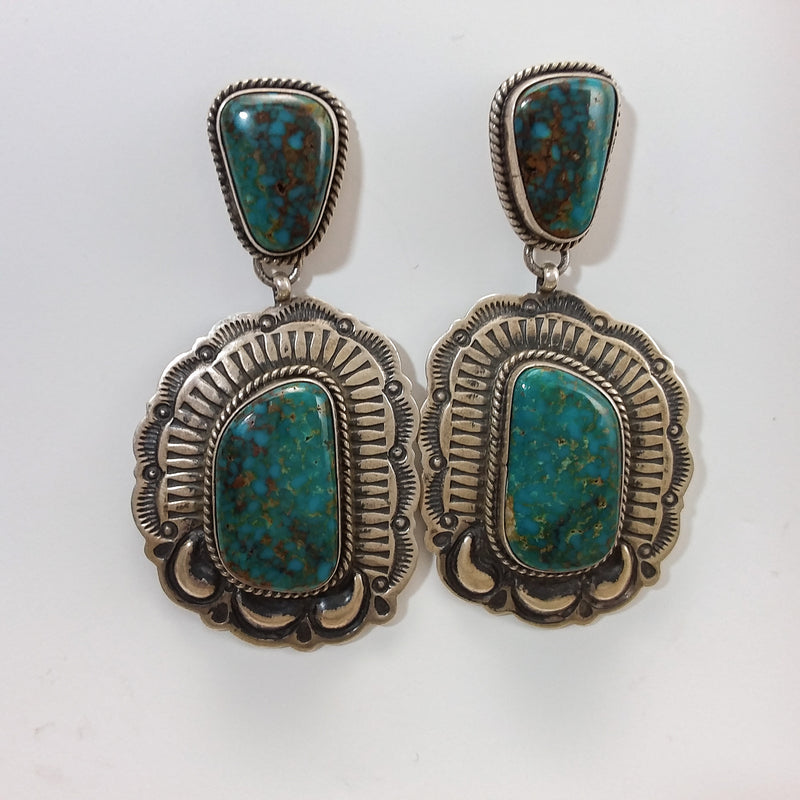 Green Turquoise Earrings By Darryl Becenti