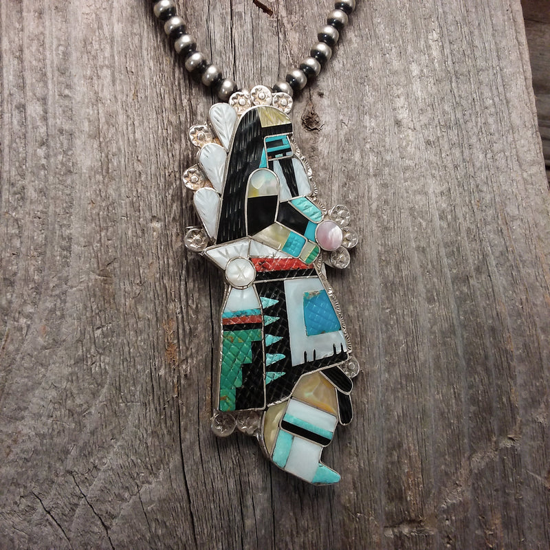 Zuni Inlay Rain Dancer Pendant/Pin by Eldred Martinez