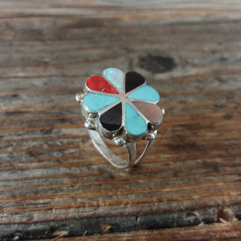 D.S. Zuni Inlay Clover Ring