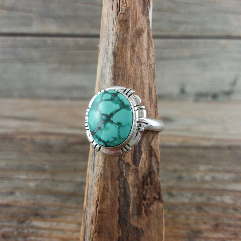 Round Green Turquoise Ring by Freda Martinez
