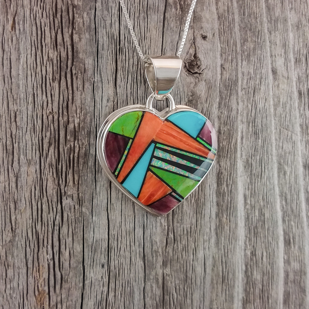 Julius Burbank Inlay Heart Pendant