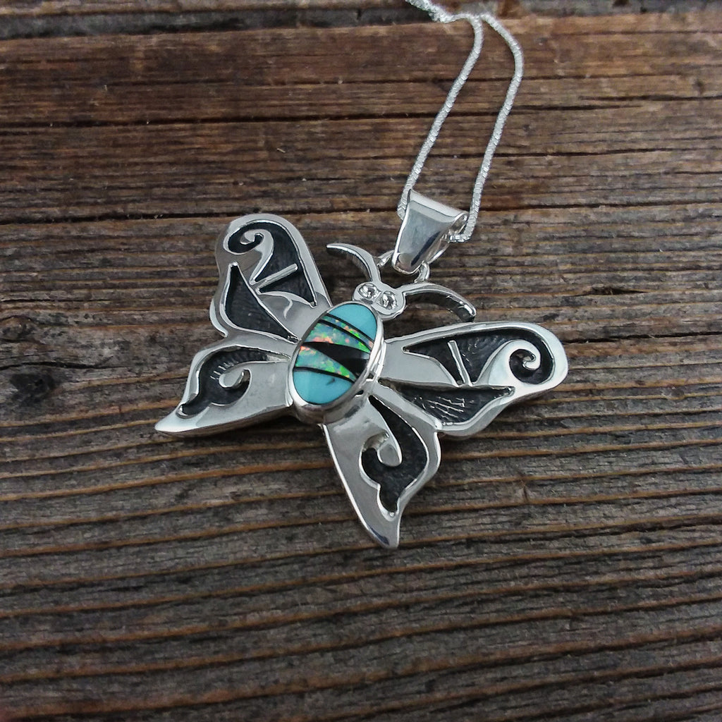 Charlie Bowie Butterfly Inlay Pendant