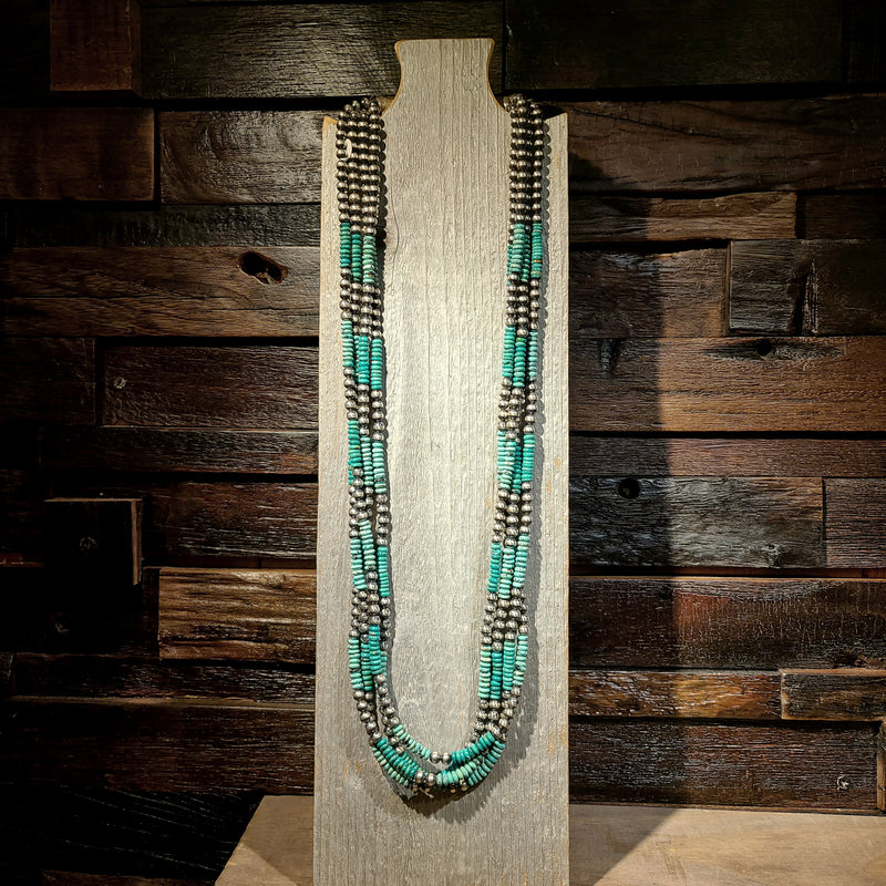 Turquoise & Sterling Silver Beaded Strand Necklace | Artist Fred Archuleta | Native New Mexico