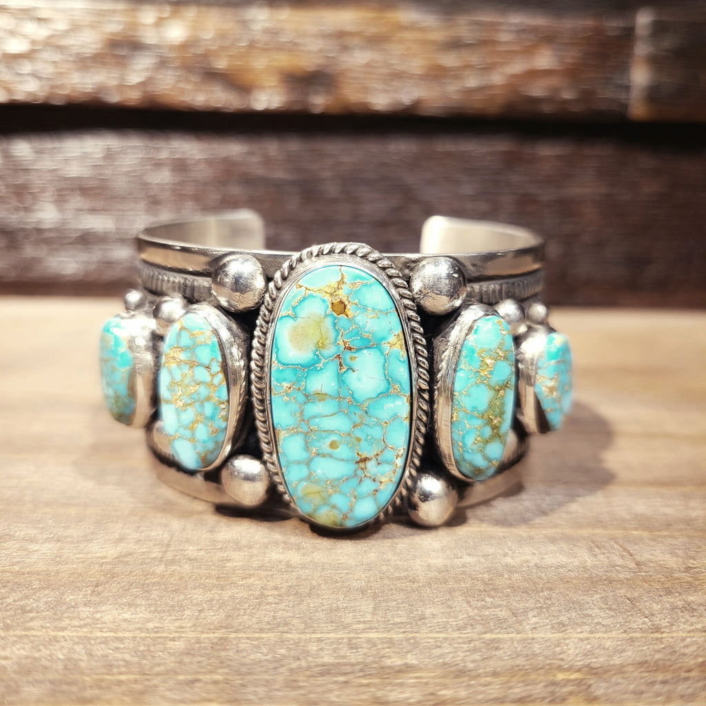 Kingman Turquoise & Sterling Silver Cuff Bracelet | Native American Indian | Guy Hoskie