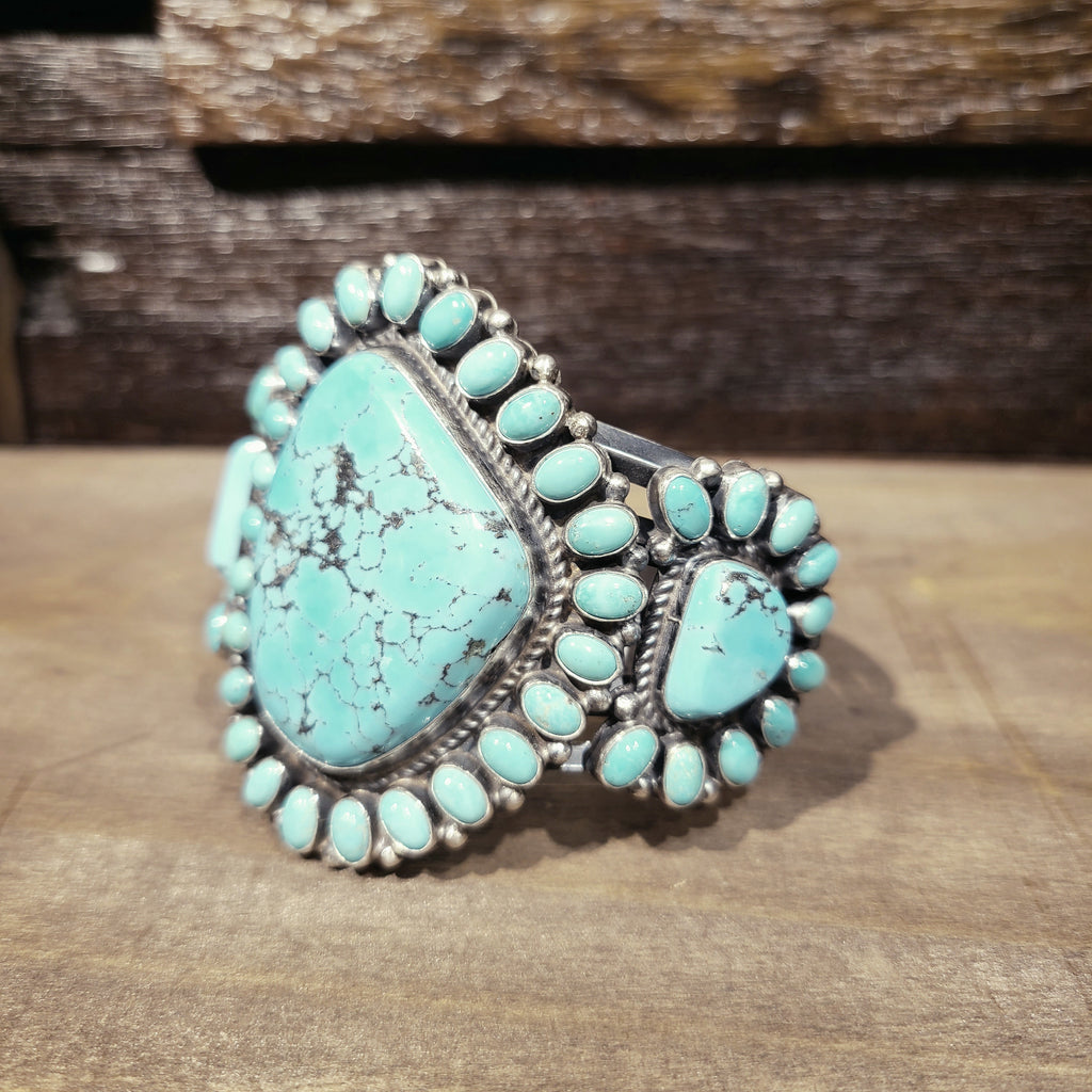 Kingman Turquoise Cuff Bracelet | Native American Indian | Anthony Skeets