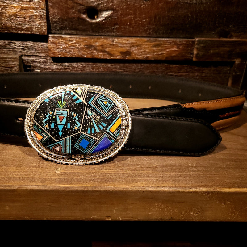 Artist Ray Jack | Sterling Silver & Inlay Multi Stone and Shell Buckle | Native American Indian