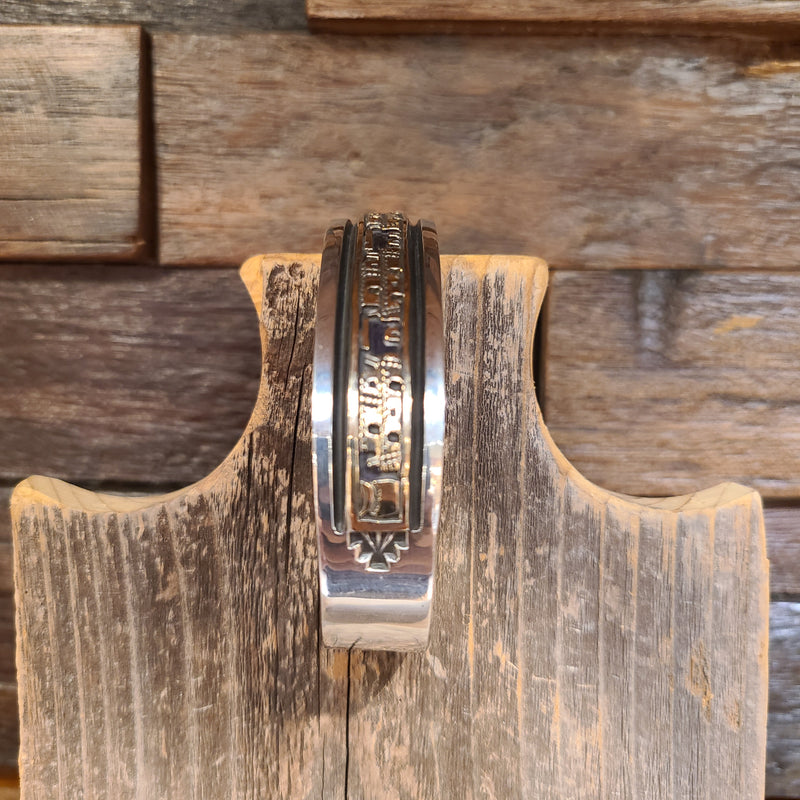 Sterling Silver & 14k Gold Overlay Pueblo Design | Artist Bruce Morgan | Native American Indian