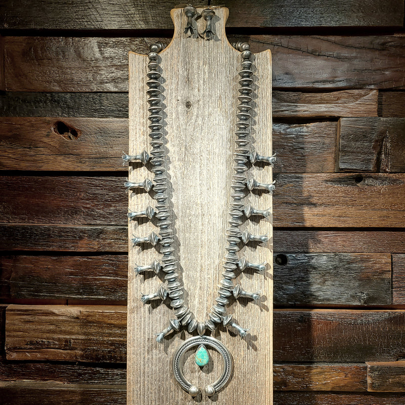 Turquoise Patina Squash Blossom Necklace