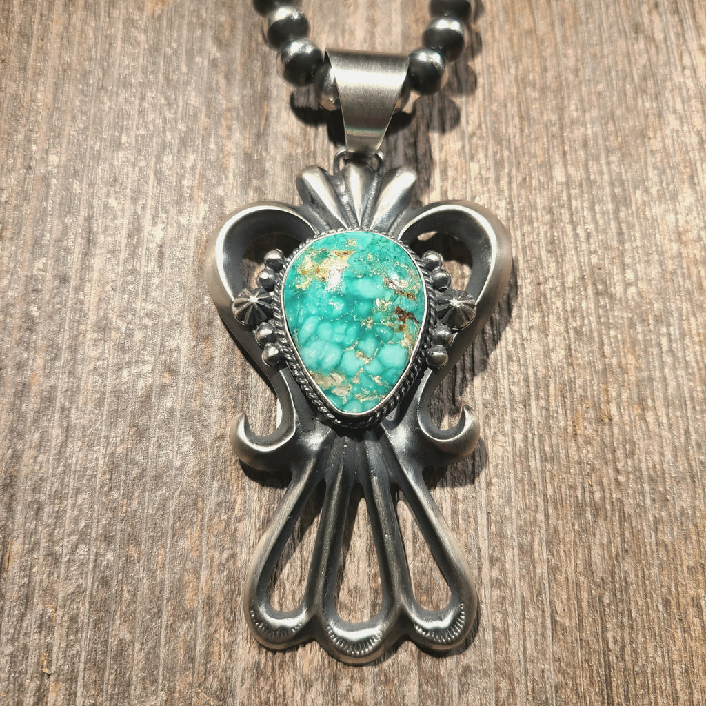 Turquoise & Sterling Silver Sandcast Pendant | Artist Harrison Bitsue | Native American Indian