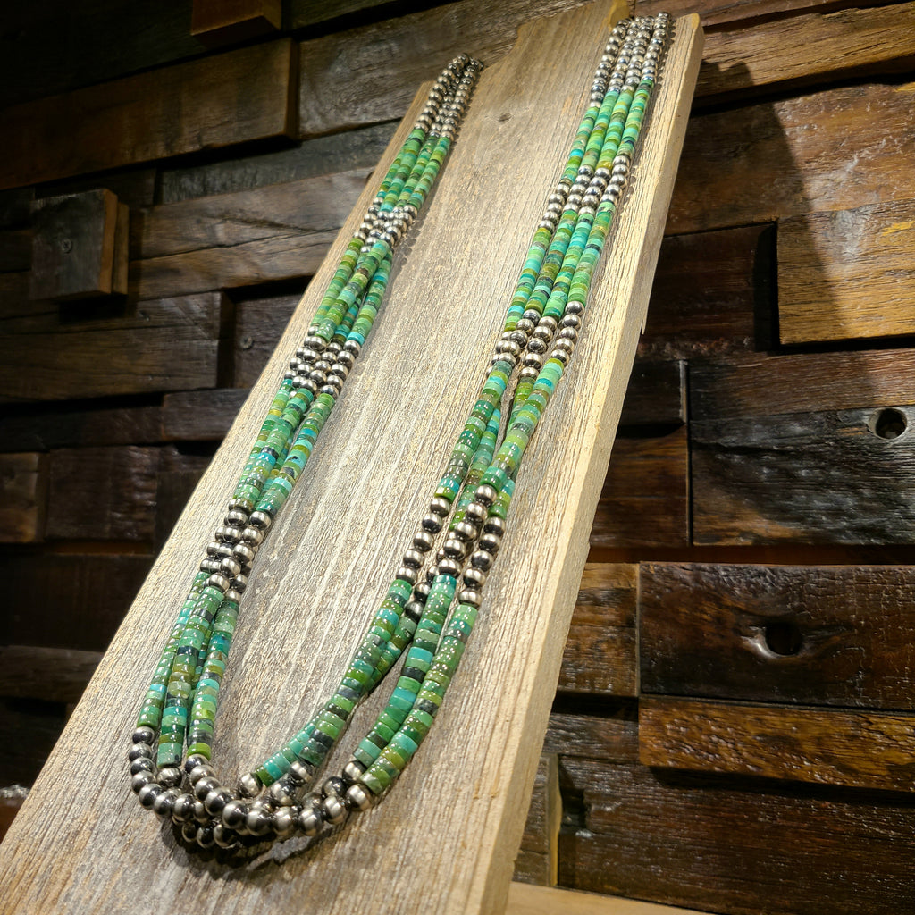 Green Turquoise & Sterling Bead Necklace