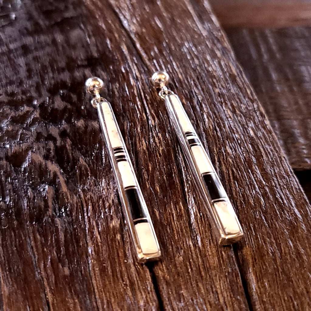 Inlay White Buffalo | Jet | Sterling Silver - Navajo | Rick Tolino | Native American - Earrings