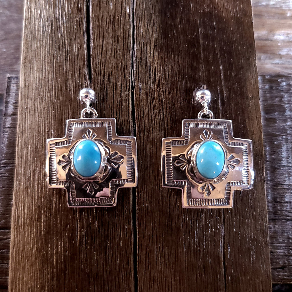 Turquoise | Sterling Silver - Navajo | Native American Indian - Cross Earrings