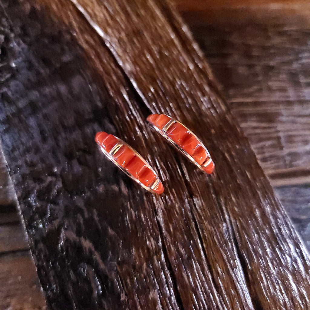 Sterling Silver | Coral - Navajo | Native American Indian - Earrings