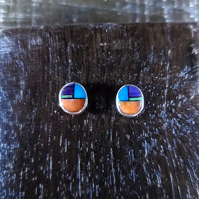 Mulit Stone | Sterling Silver - Native American Indian | Navajo - Earrings