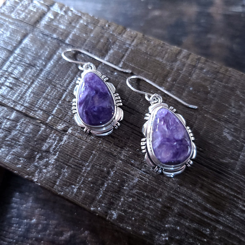 Charoite | Sterling Silver - Navajo | Native American Indian - Earrings