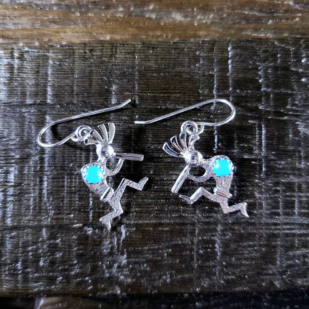 Turquoise | Sterling Silver | Kokopelli - Native American Indian | Navajo - Earrings