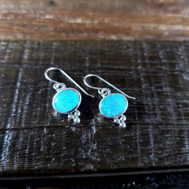 Blue Opal | Sterling Silver - Navajo | Native American Indian - Earrings