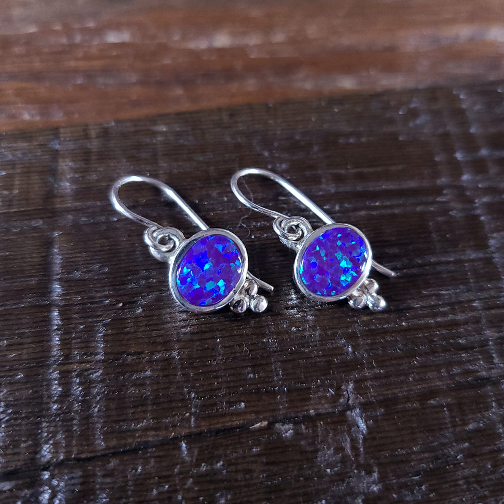 Purple Opal | Sterling Silver - Navajo | Native American Indian - Earrings