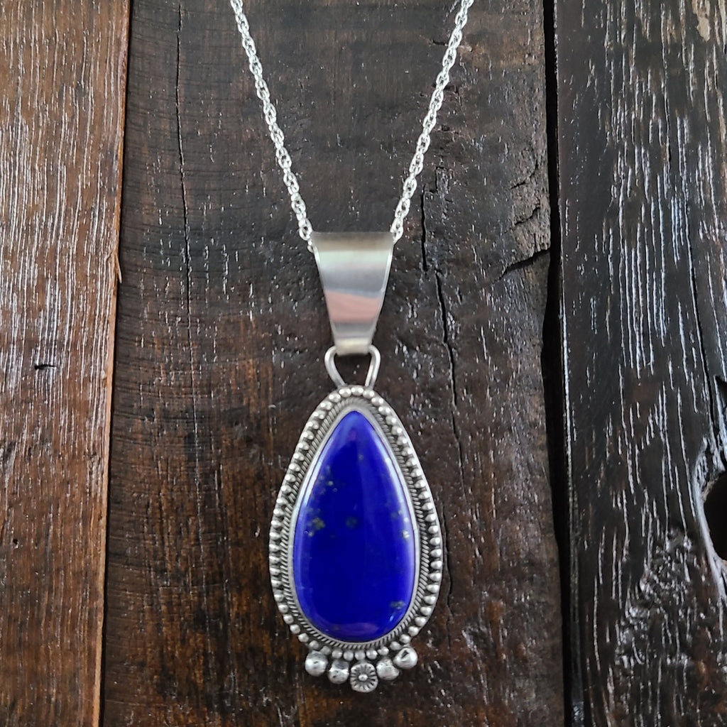 Lapis | Sterling Silver | Pendant - Native American Indian | Navajo - Esther Spencer