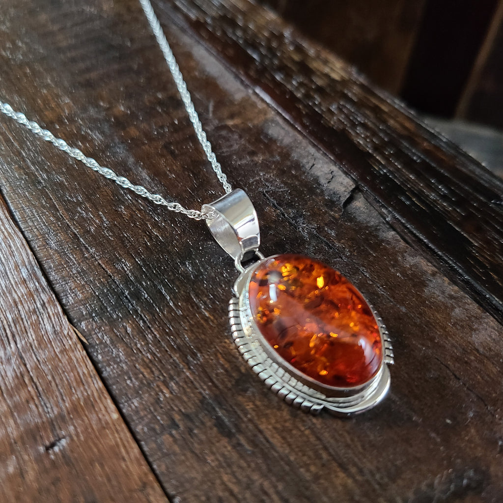 Amber | Sterling Silver | Pendant - Native American Indian | Navajo - Larry Yazzie