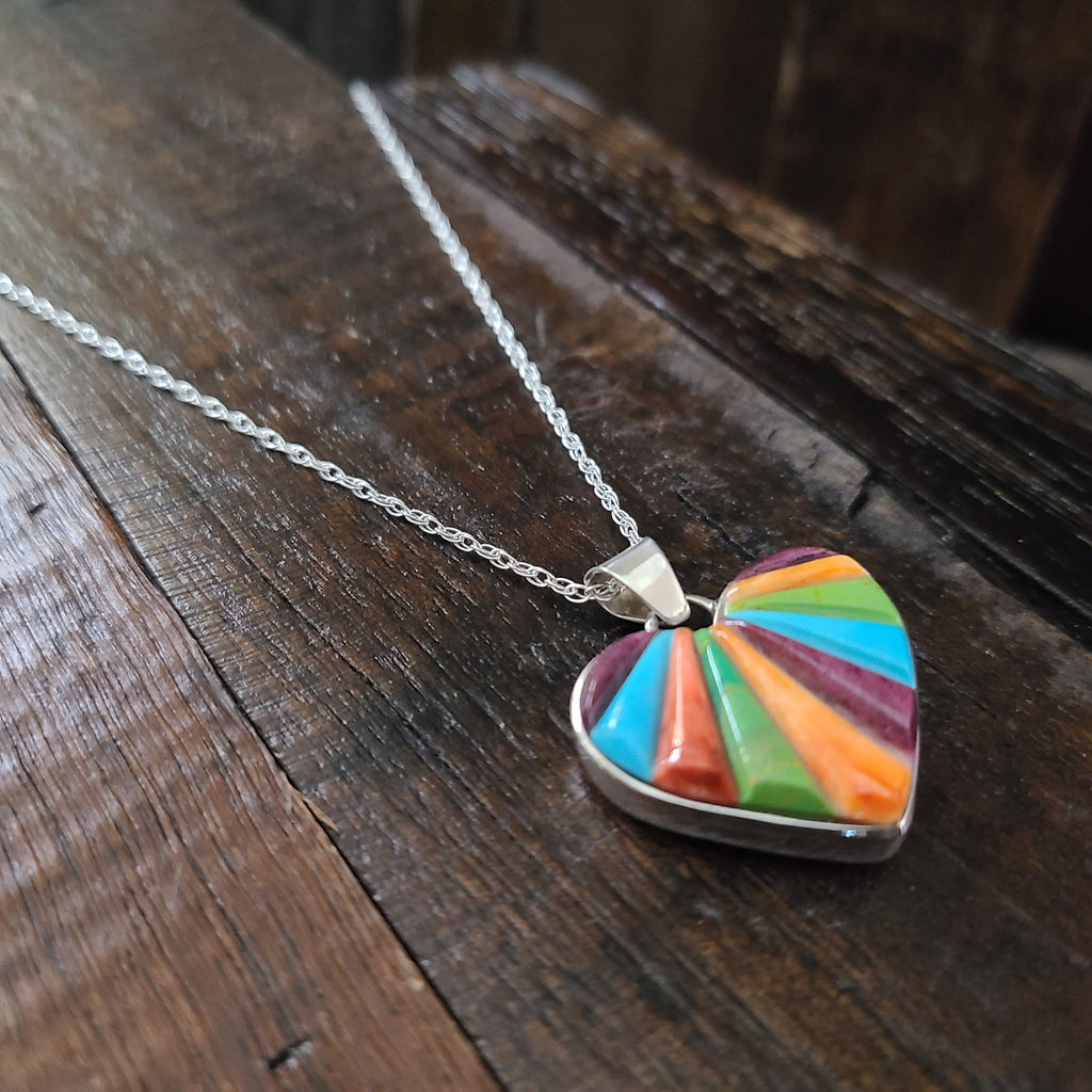 Multi Stone | Sterling Silver | Inlay Heart Pendant - Native American Indian | Navajo - Calvin Begay