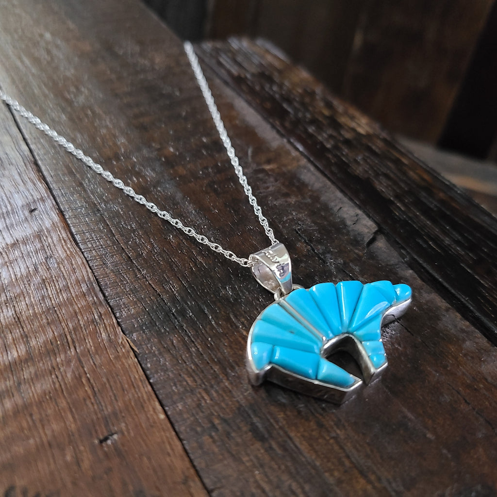 Turquoise | Sterling Silver | Inlay Bear Pendant - Native American Indian | Navajo - Calvin Begay