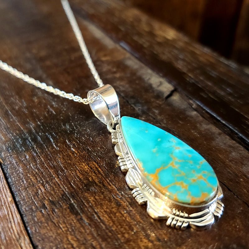 Turquoise | Sterling Silver | Pendant - Native American Indian | Navajo - Larry Yazzie