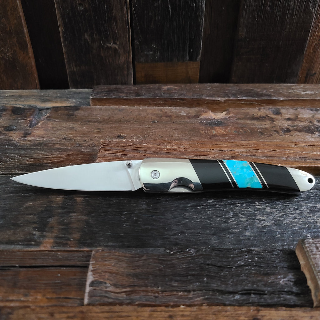 Turquoise and Jet Inlay Knife