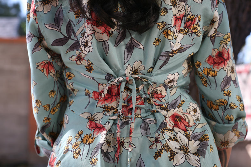 Floral Shirt in Aqua by Lola P.