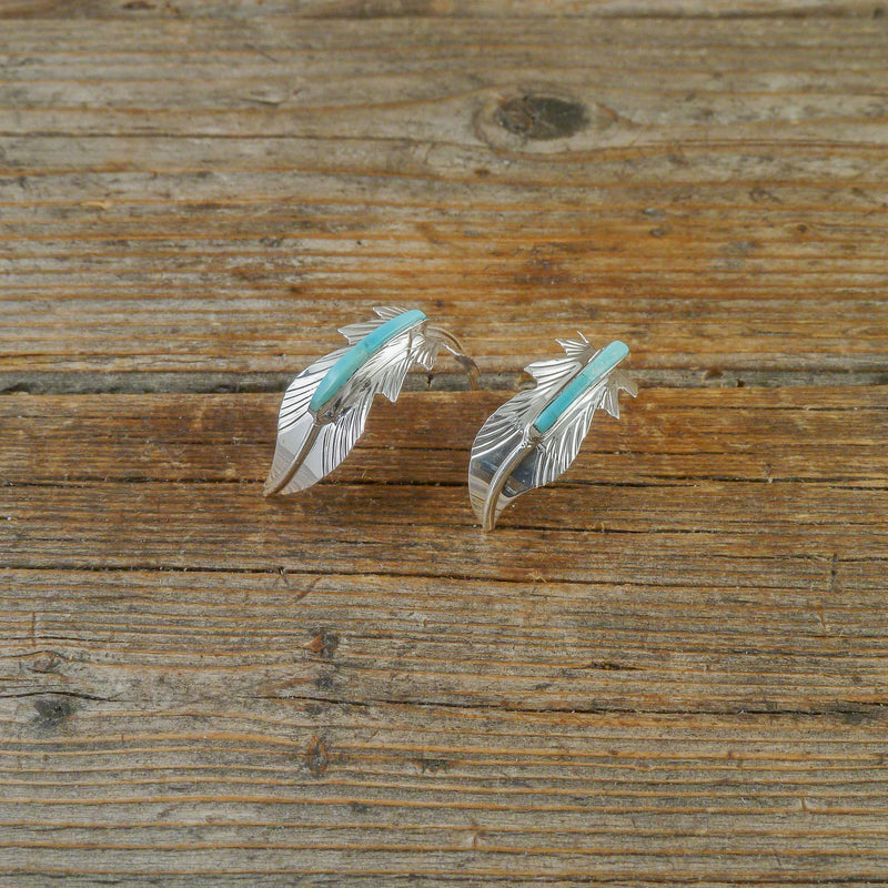 Fred Barney Turquoise Feather Hoop Earrings