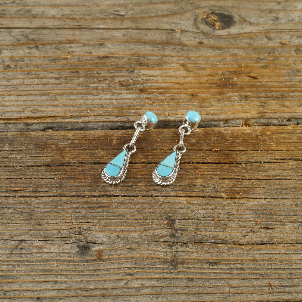 Turquoise Inlay Teardrop Earrings