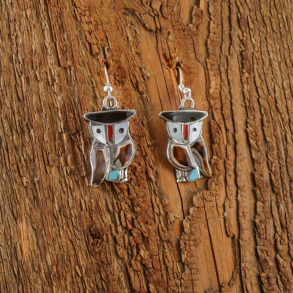 Pitkin Natewa Inlay Owl Earrings