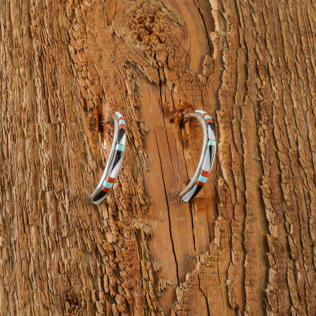 Rebecca Sheyka Zuni Inlay Loop Earrings