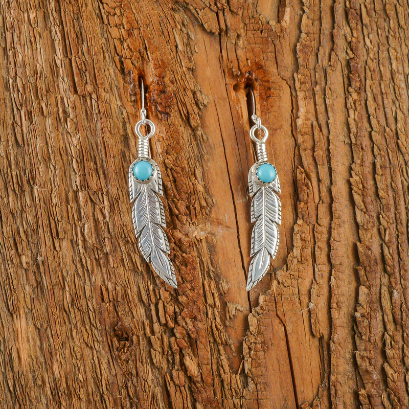 Wesley Whitman Silver Stamp Feather Earrings