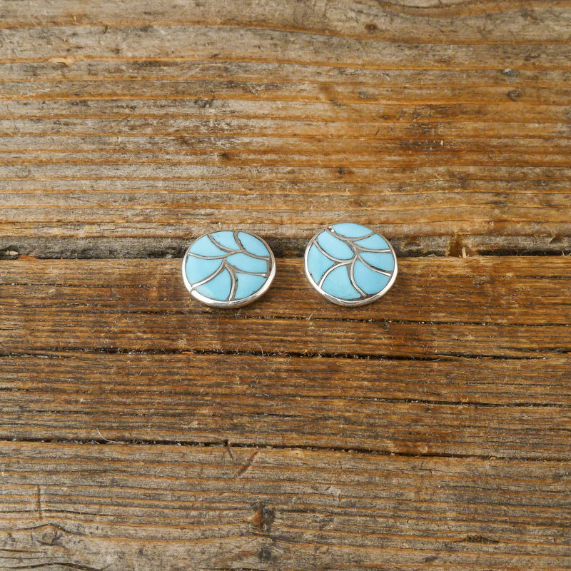 Round Turquoise Inlay Earrings