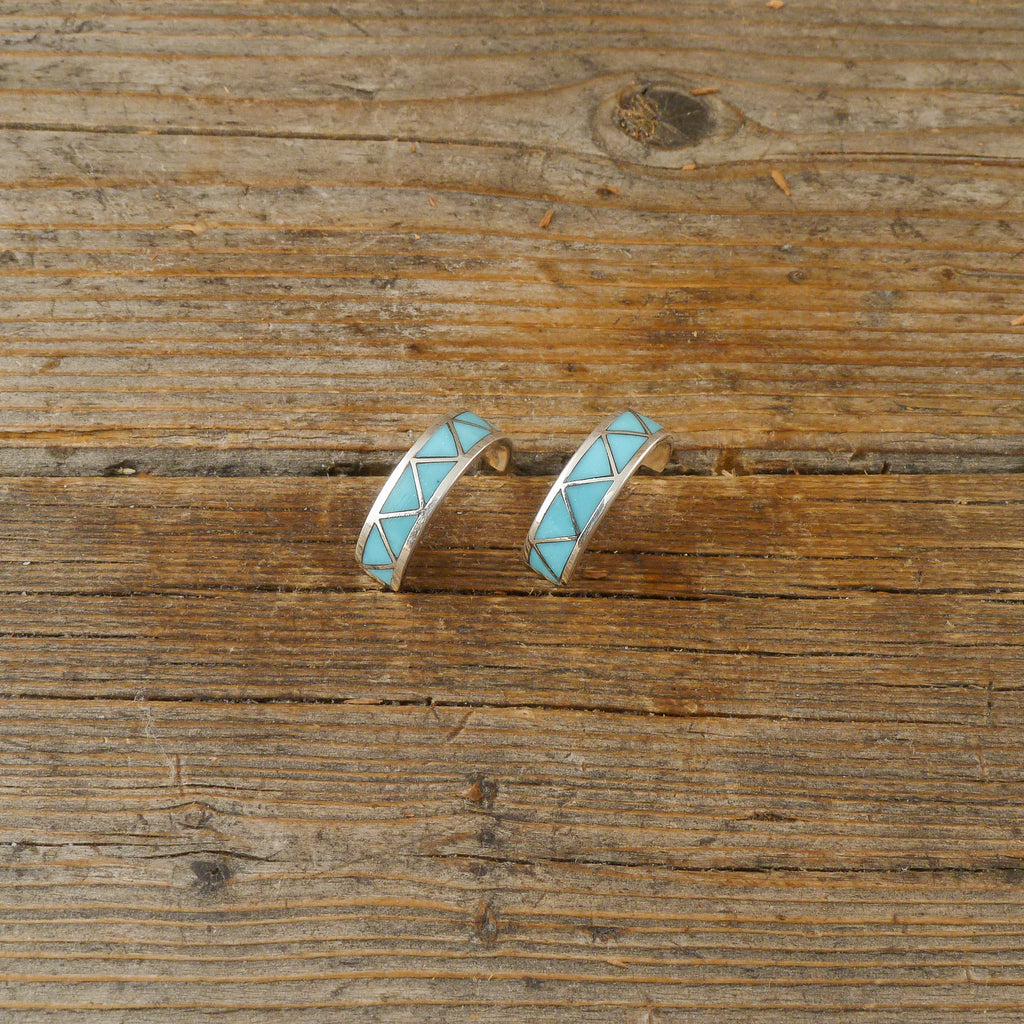 Claudine Haloo Turquoise Inlay Hoop Earrings
