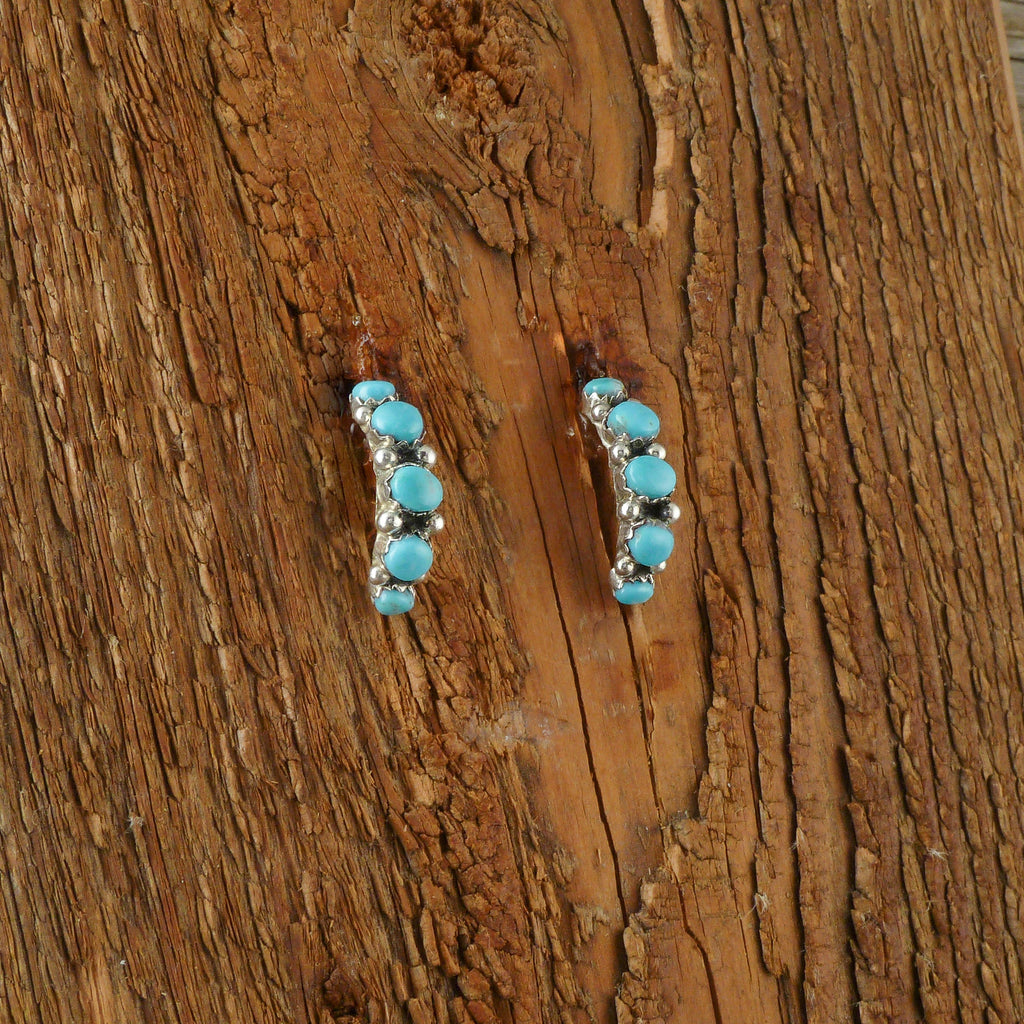 Turquoise Five Cabochon Hook Earrings