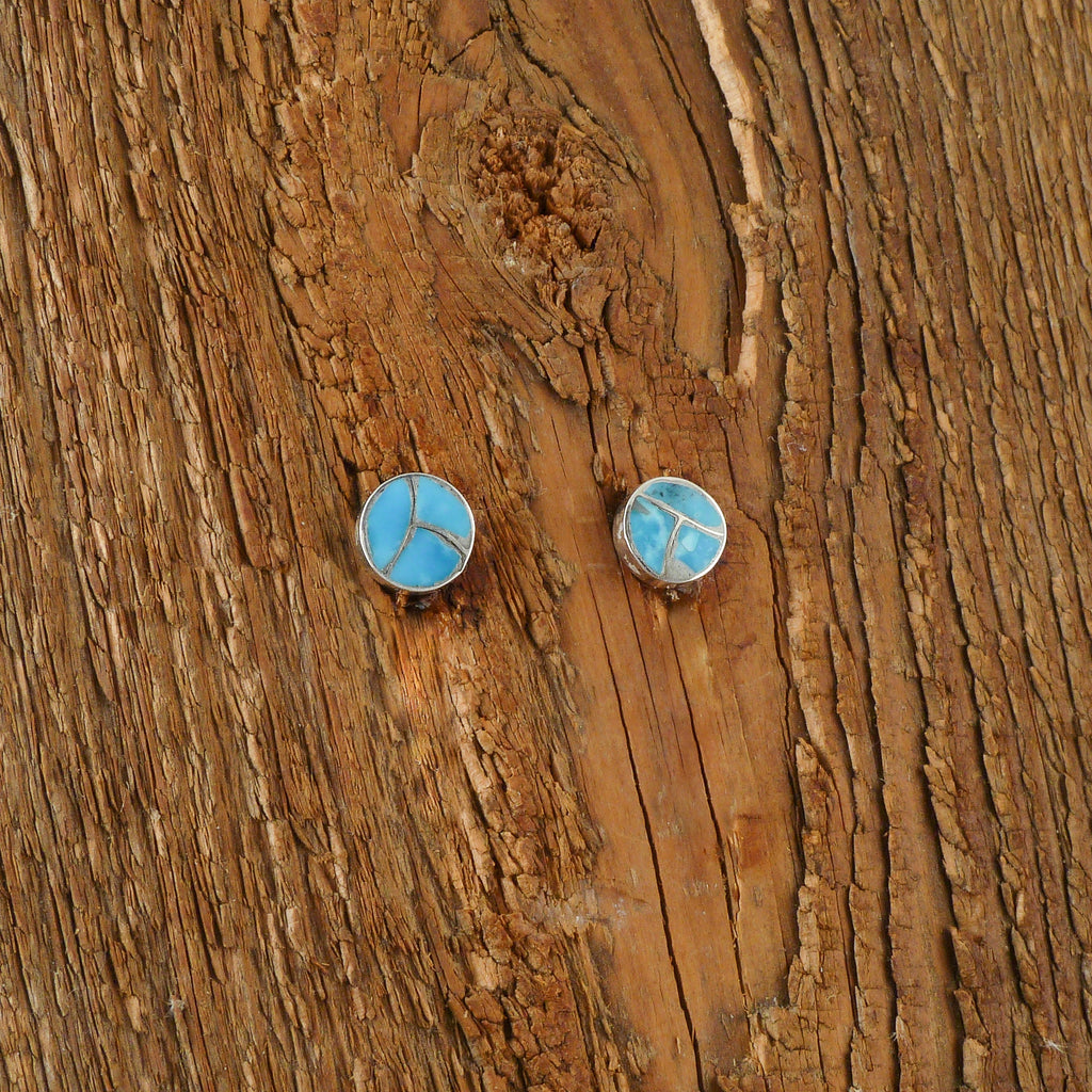 Turquoise Inlay Stud Earrings