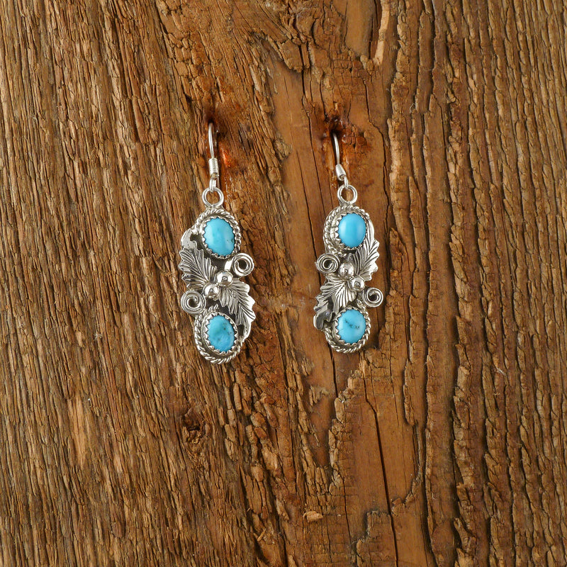 Harold Begay Turquoise Feather Earrings