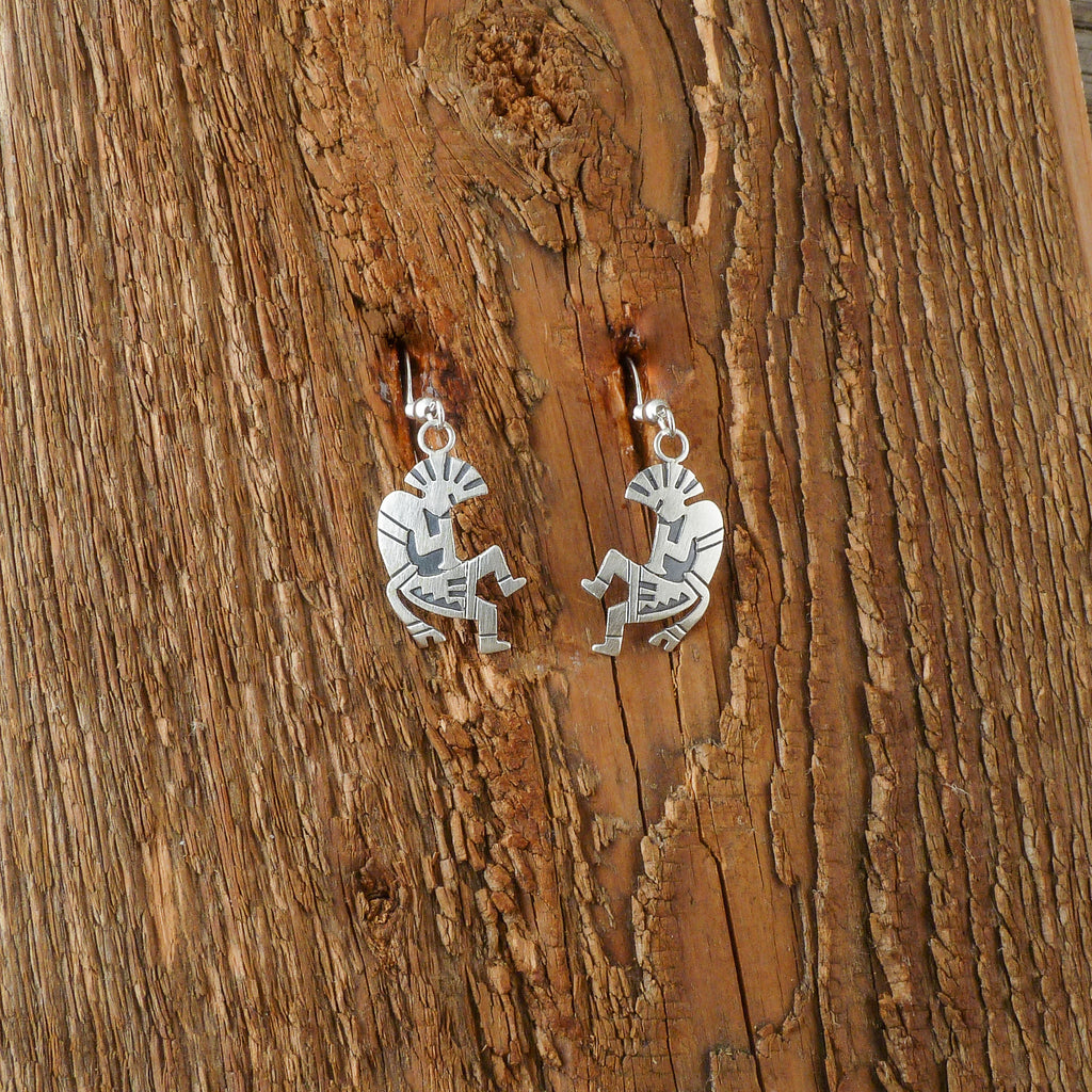 Silver Kokopelli Earrings