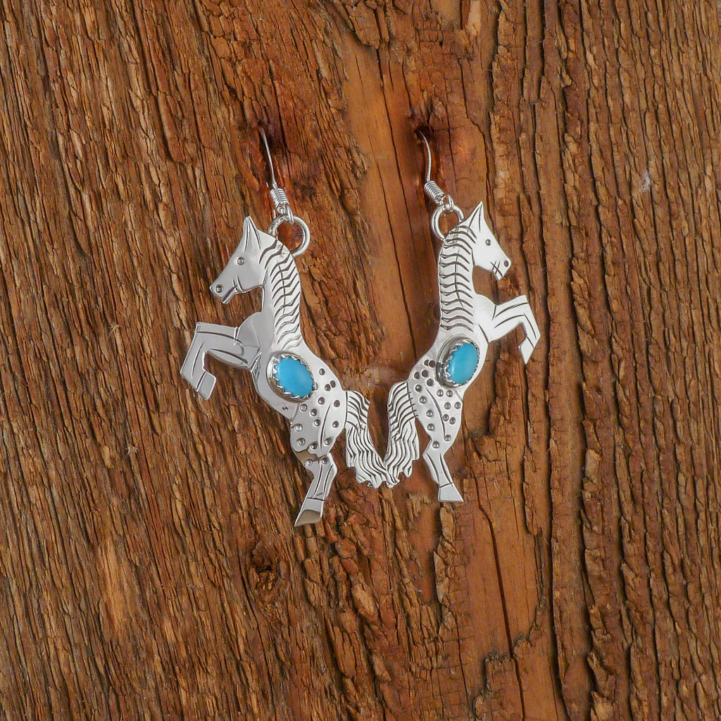 Louise Yazzie Silver Horse Earrings