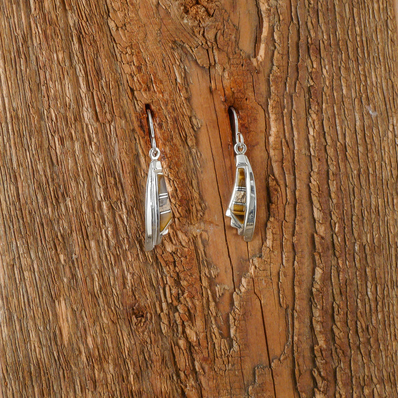 Picture Jasper and Tiger's Eye Inlay Earrings