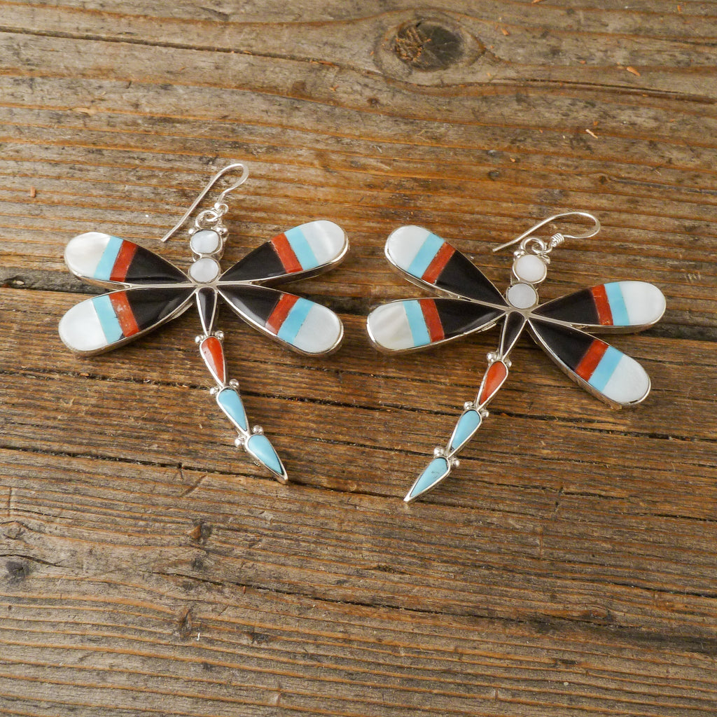 Angus Ahiyite Inlay Dragonfly Earrings