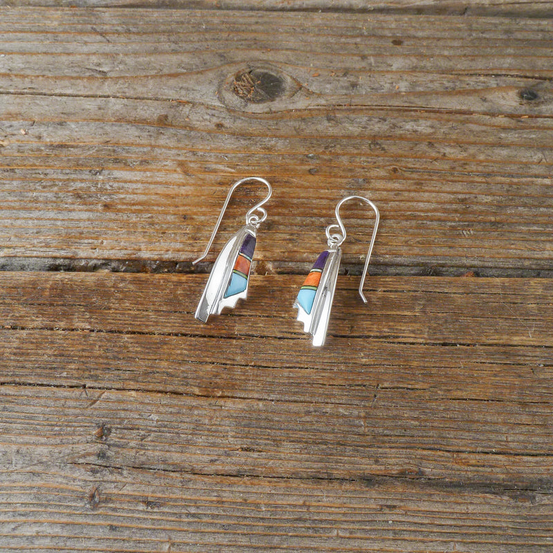 Multi Stone Inlay Earrings