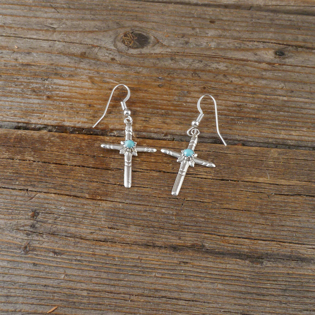 Lorraihe Chee Turquoise Cross Earrings