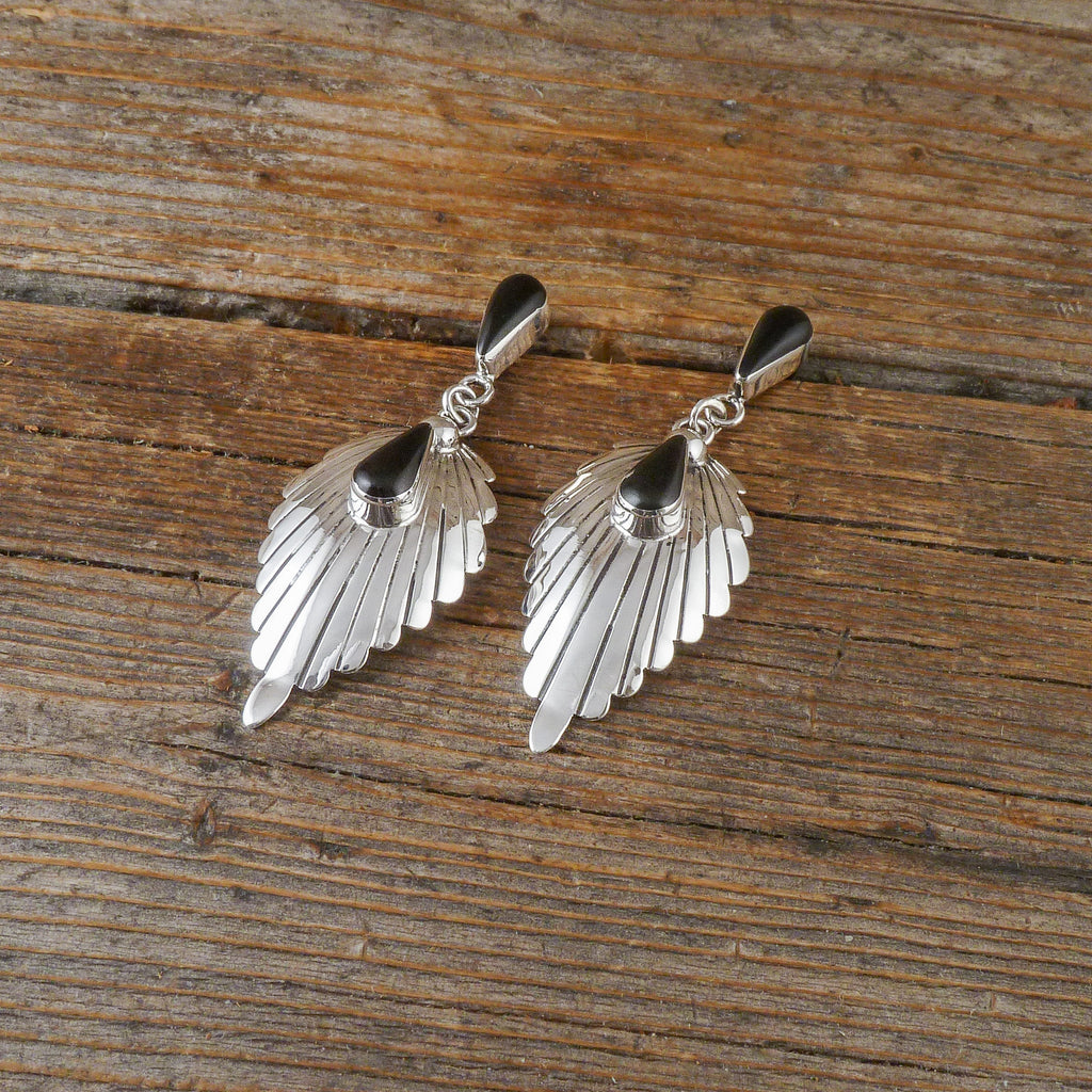 Harry Cacuse Jet Silver Stamp Earrings