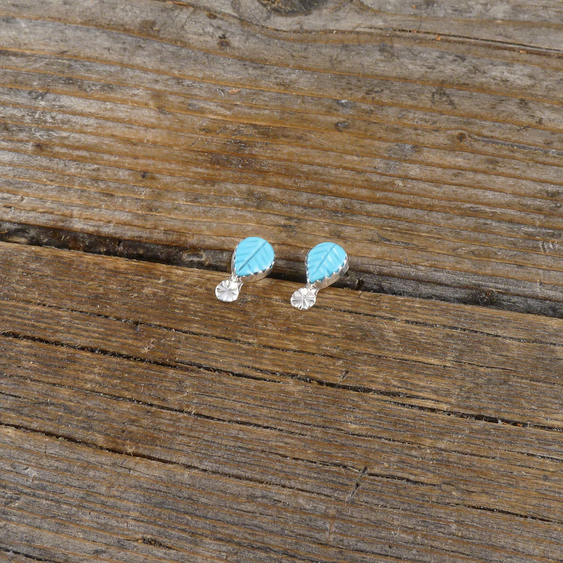 Donovan Quam Turquoise Feather Stud Earrings