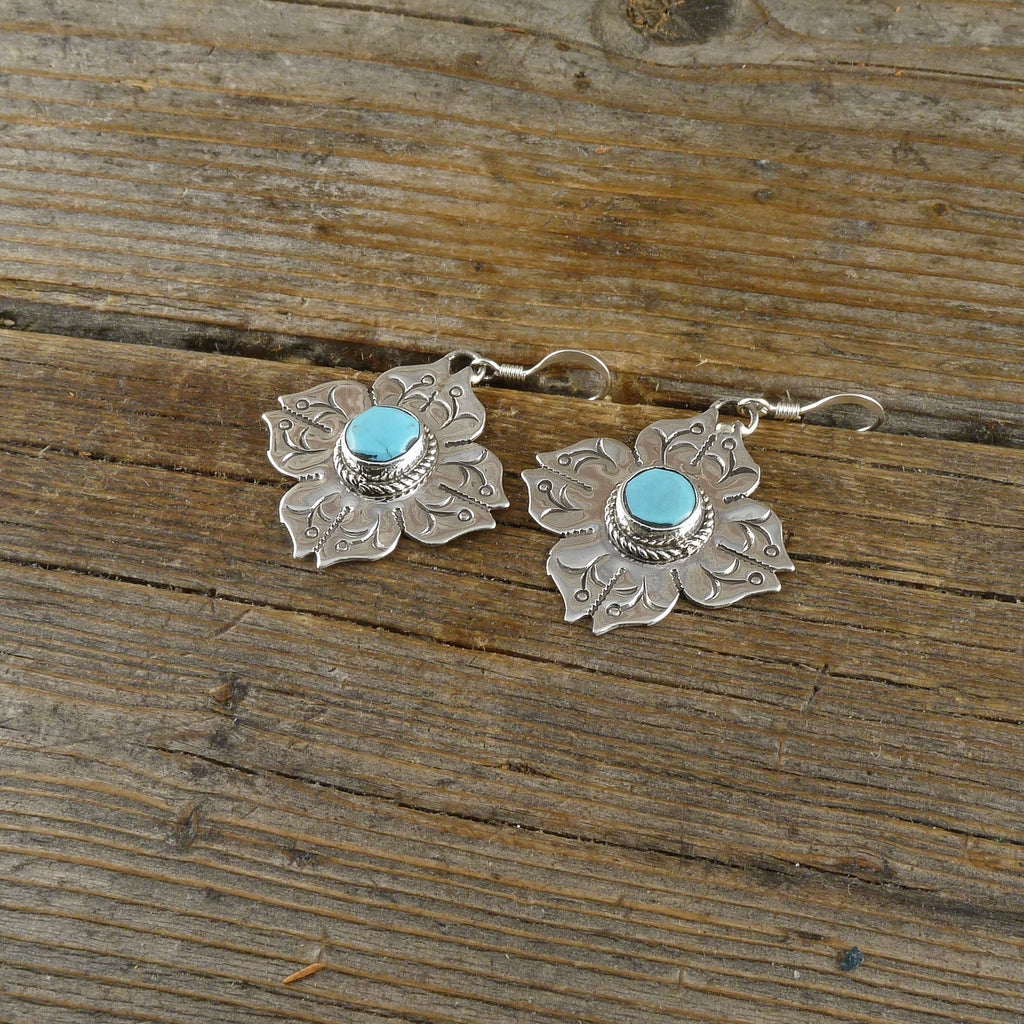 Joelias Draper Turquoise/Silver Stamp Earrings